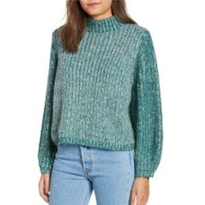 BP. Teal Green Marled Puff Sleeve Sweater